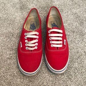 Red Vans sneakers